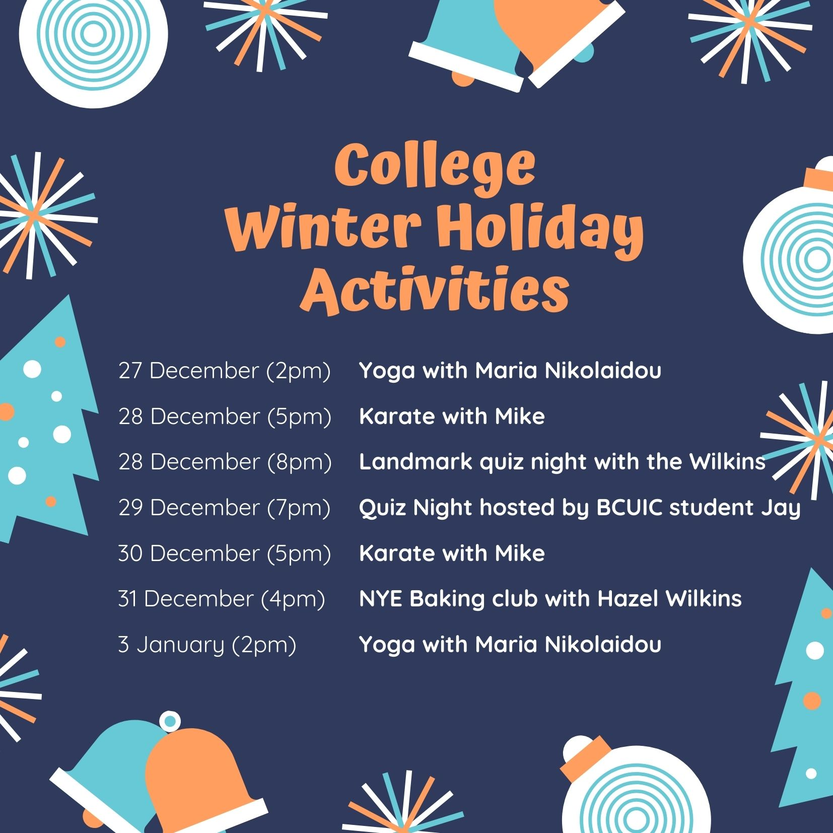 Winter Holiday Activities 2020